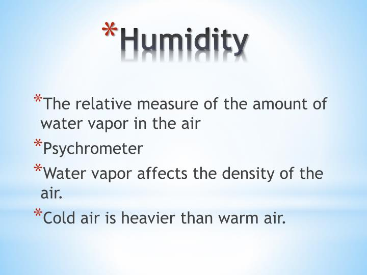 The relative measure of the amount of water vapor in the air