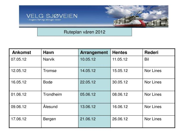 Ruteplan våren 2012