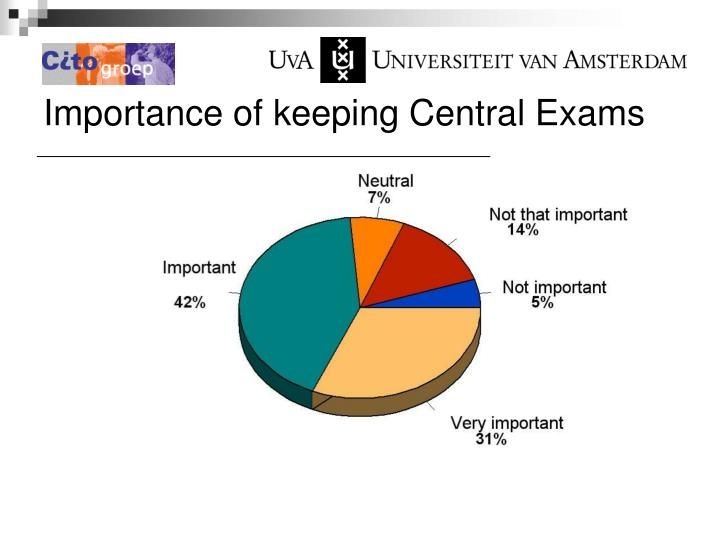 Importance of keeping Central Exams