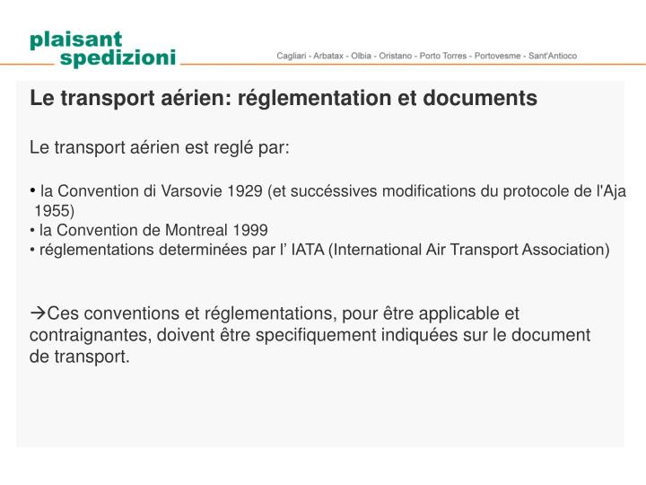 Le transport aérien: réglementation et documents