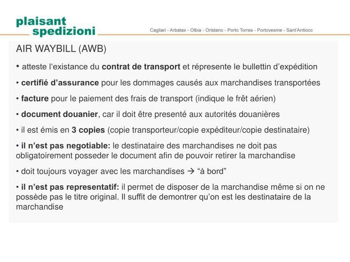 AIR WAYBILL (AWB)