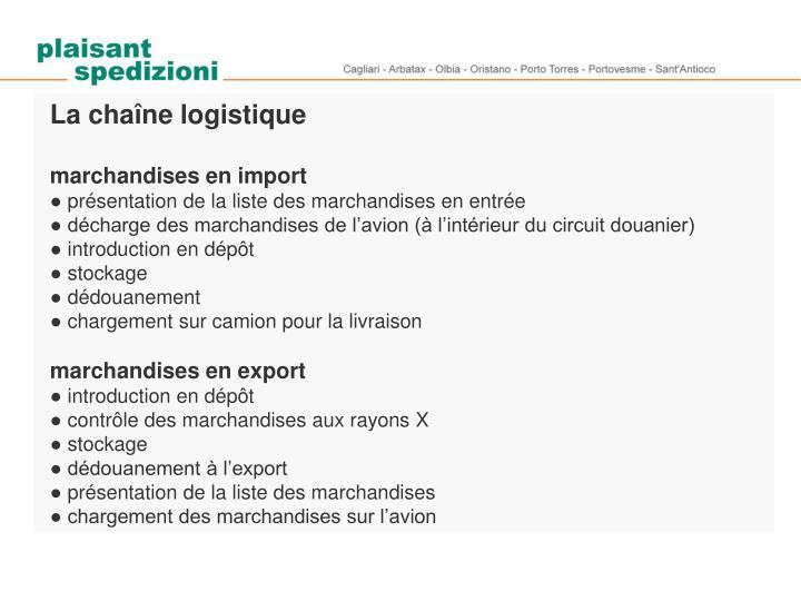 La chaîne logistique