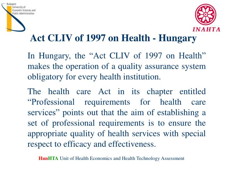 Act CLIV of 1997 on Health
