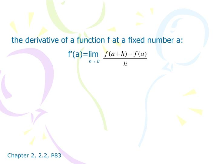 the derivative of a function f at a fixed number a: