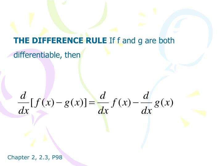 THE DIFFERENCE RULE