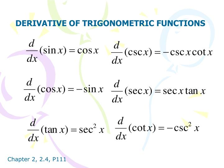 DERIVATIVE OF TRIGONOMETRIC FUNCTIONS