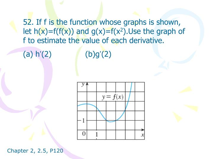 52. If f is the function whose graphs is shown, let h(x)=f(f(x)) and g(x)=f(x