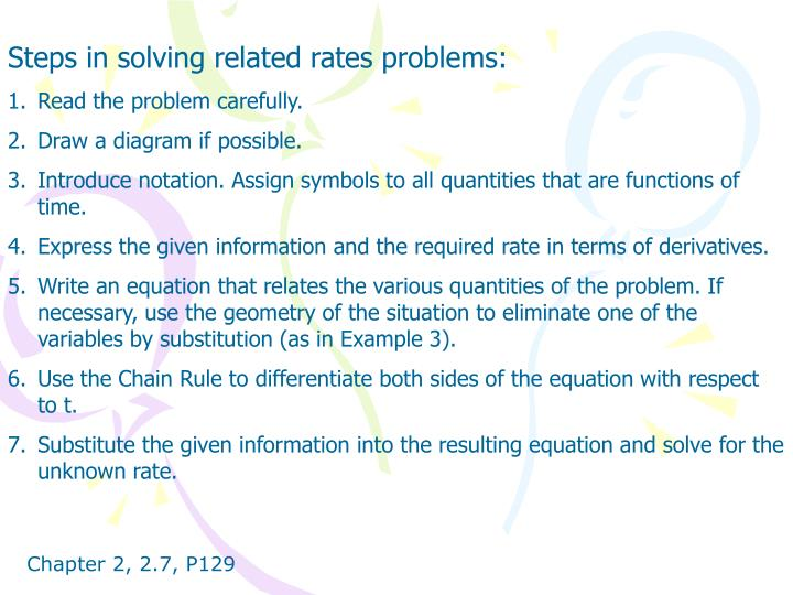 Steps in solving related rates problems: