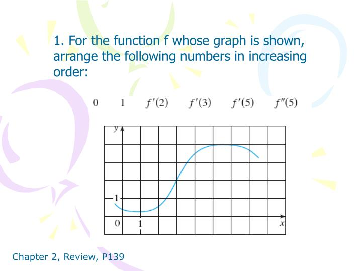 1. For the function f whose graph is shown, arrange the following numbers in increasing order: