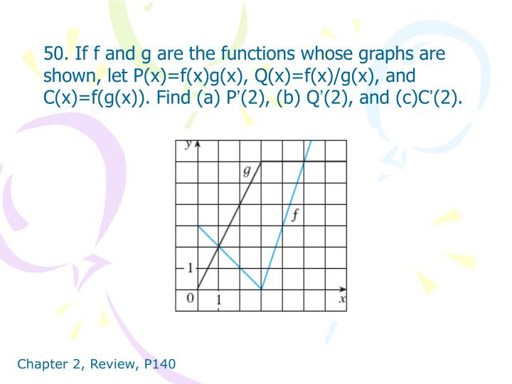 50. If f and g are the functions whose graphs are shown, let P(x)=f(x)g(x), Q(x)=f(x)/g(x), and C(x)=f(g(x)). Find (a) P