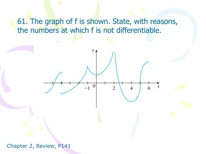 61. The graph of f is shown. State, with reasons, the numbers at which f is not differentiable.