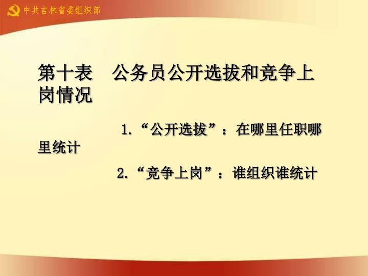 第十表  公务员公开选拔和竞争上岗情况