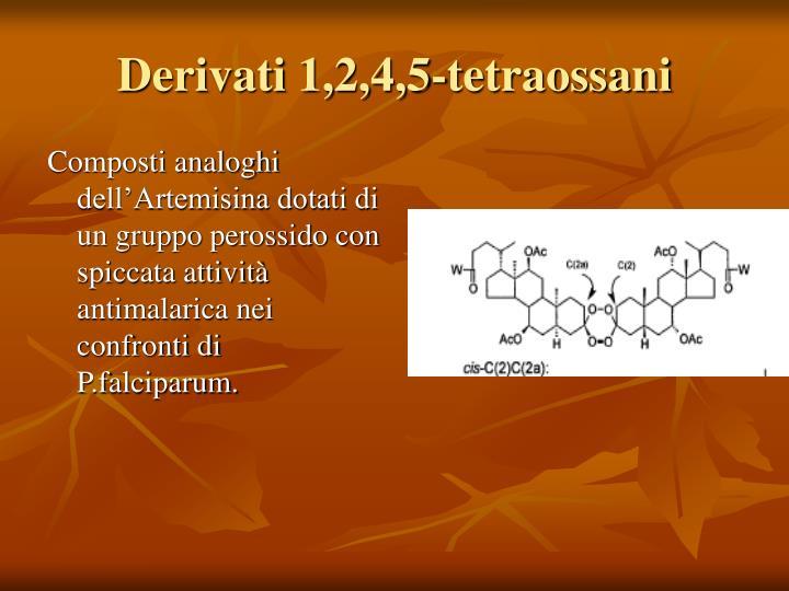 Composti analoghi dell'Artemisina dotati di un gruppo perossido con spiccata attività antimalarica nei confronti di P.falciparum.