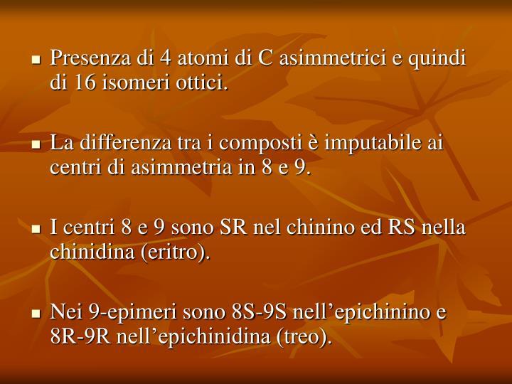 Presenza di 4 atomi di C asimmetrici e quindi di 16 isomeri ottici.
