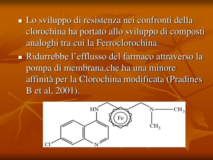 Lo sviluppo di resistenza nei confronti della clorochina ha portato allo sviluppo di composti analoghi tra cui la Ferroclorochina