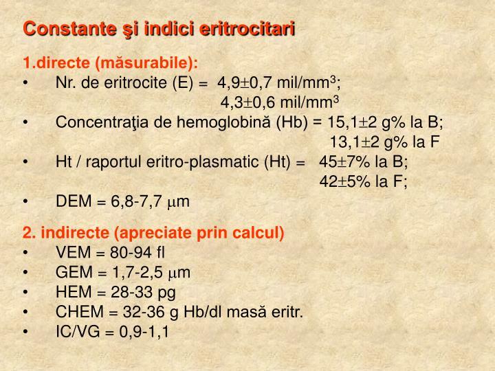 Constante şi indici eritrocitari