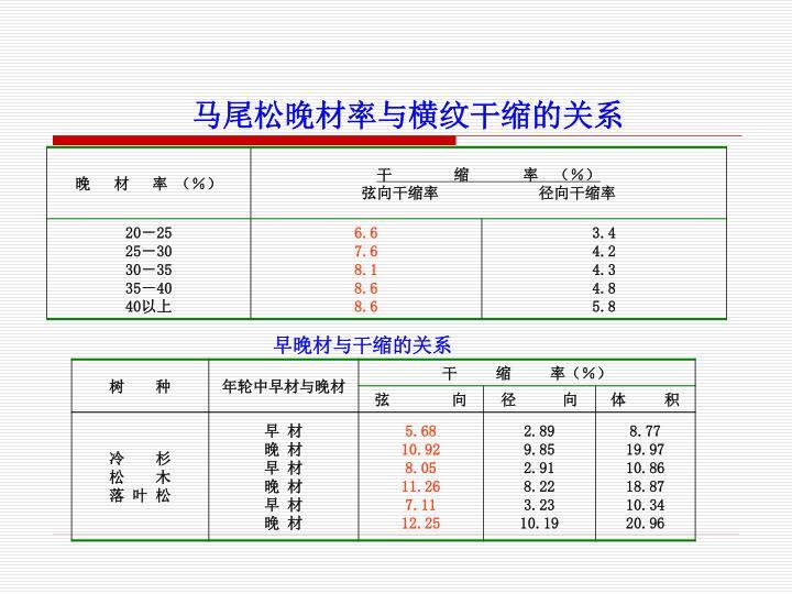 马尾松晚材率与横纹干缩的关系