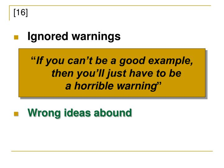 Ignored warnings