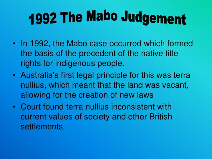 1992 The Mabo Judgement