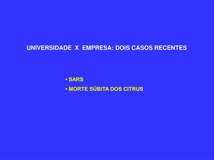 UNIVERSIDADE  X  EMPRESA: DOIS CASOS RECENTES