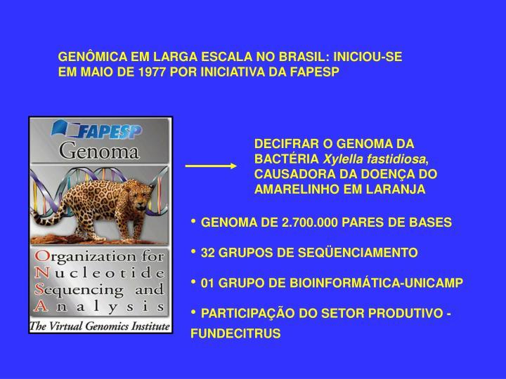 GENÔMICA EM LARGA ESCALA NO BRASIL: INICIOU-SE EM MAIO DE 1977 POR INICIATIVA DA FAPESP