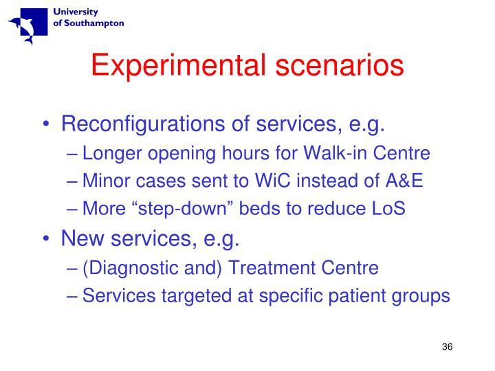 Experimental scenarios