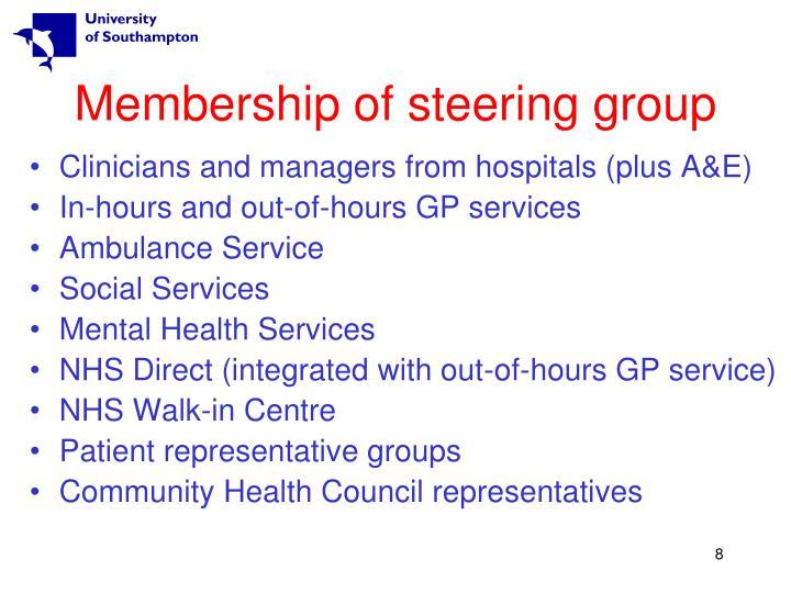 Membership of steering group
