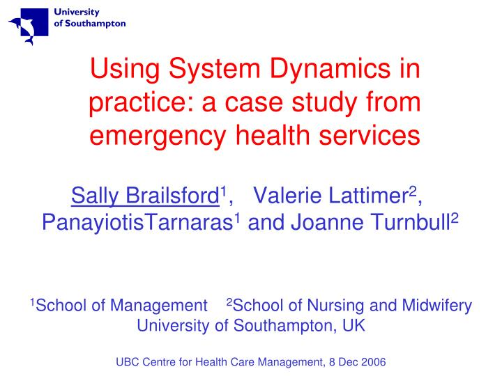 Using system dynamics in practice a case study from emergency health services