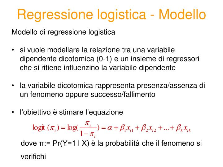 Regressione logistica - Modello