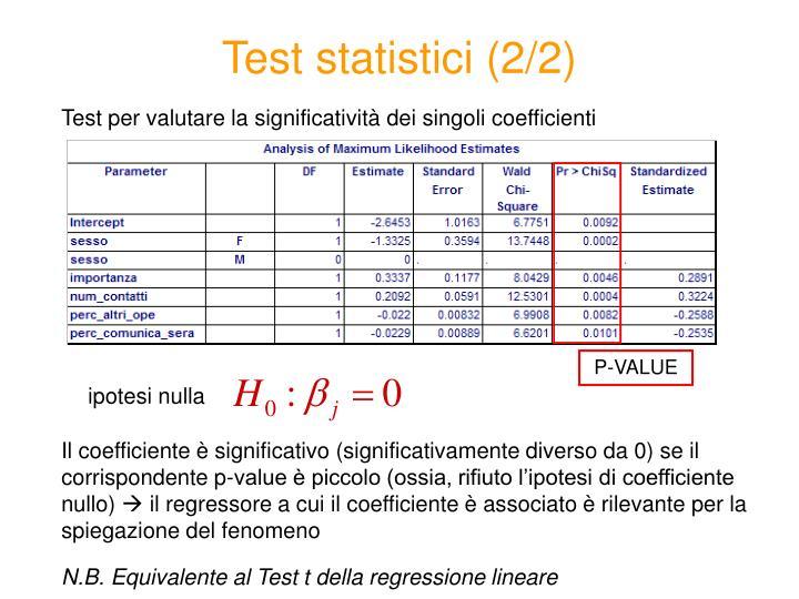 Test statistici (2/2)