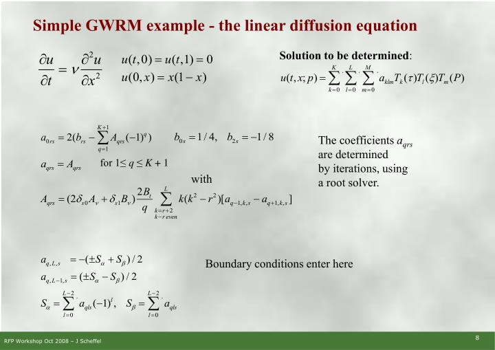 Simple GWRM example - the linear diffusion equation