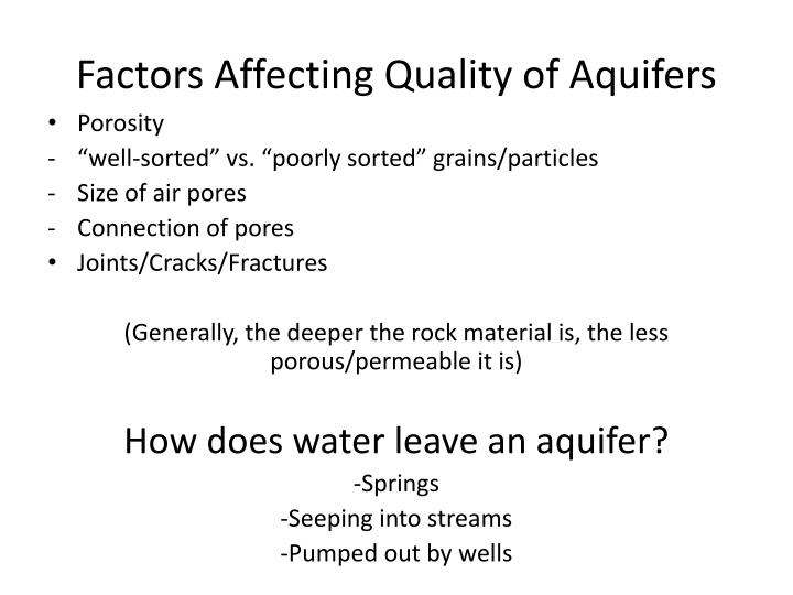 Factors Affecting Quality of Aquifers