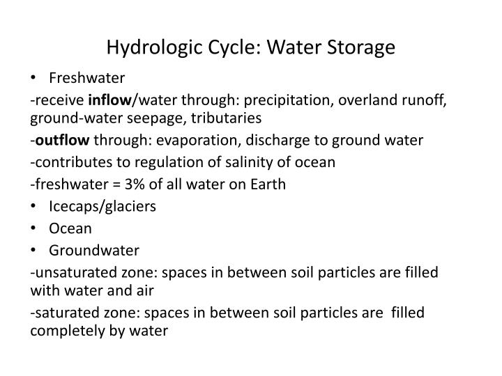 Hydrologic cycle water storage