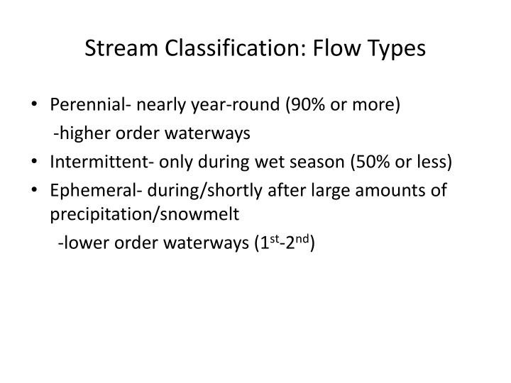 Stream Classification: Flow Types