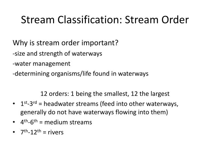 Stream Classification: Stream Order