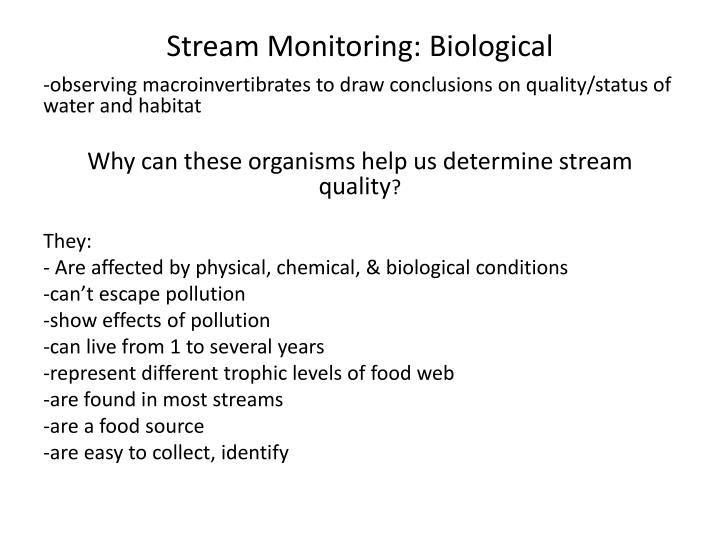 Stream Monitoring: Biological