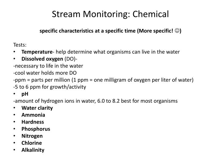 Stream Monitoring: Chemical