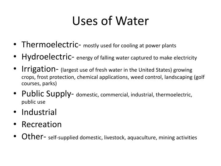 Uses of Water