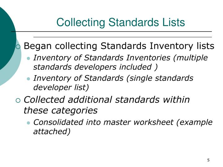 Collecting Standards Lists