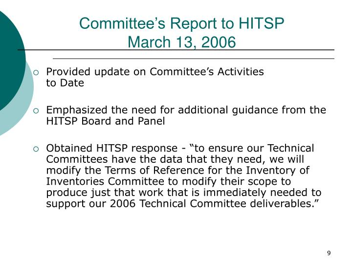 Committee's Report to HITSP