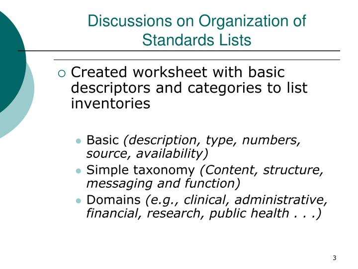Discussions on organization of standards lists
