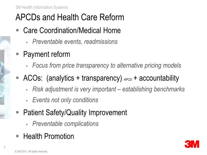 APCDs and Health Care Reform
