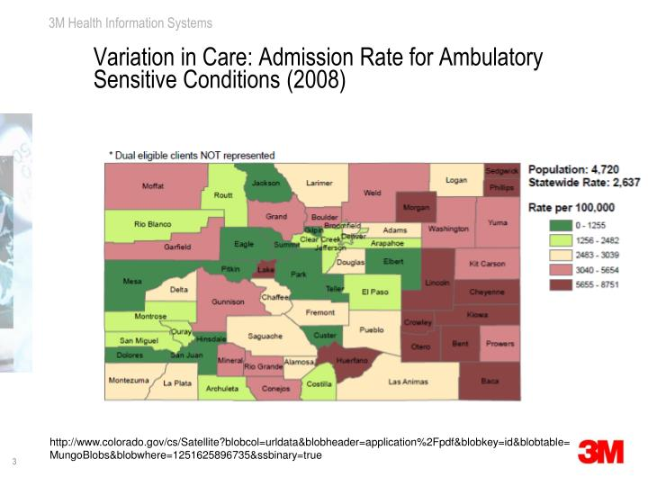 Variation in care admission rate for ambulatory sensitive conditions 2008
