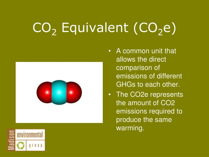 A common unit that allows the direct comparison of emissions of different GHGs to each other.