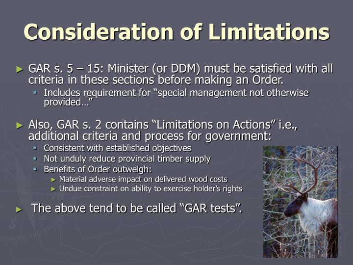 Consideration of Limitations
