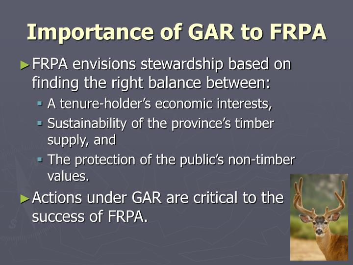 Importance of gar to frpa
