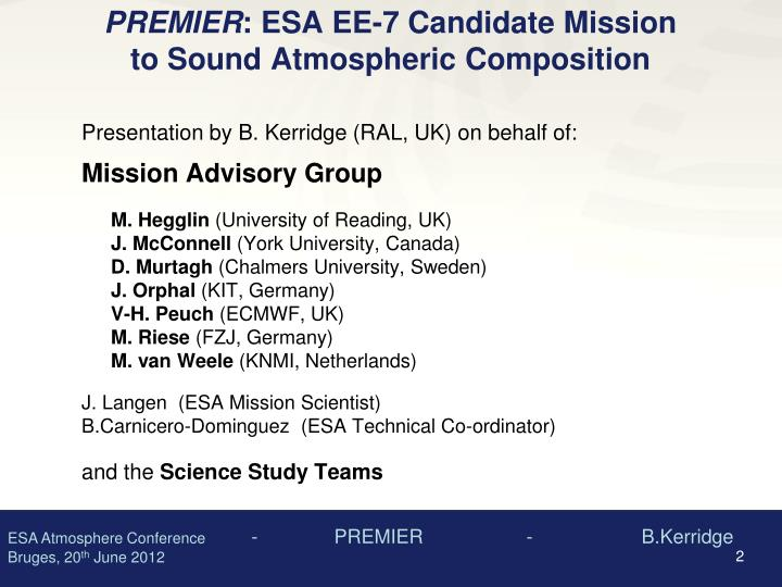Premier esa ee 7 candidate mission to sound atmospheric composition