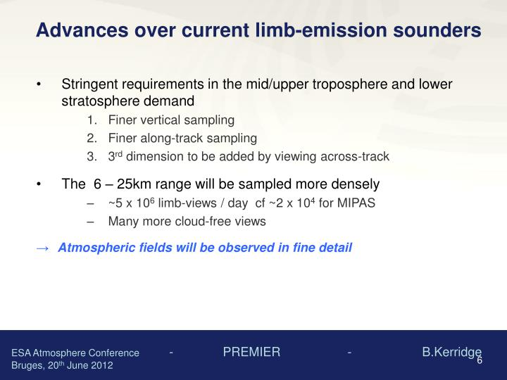 Advances over current limb-emission sounders