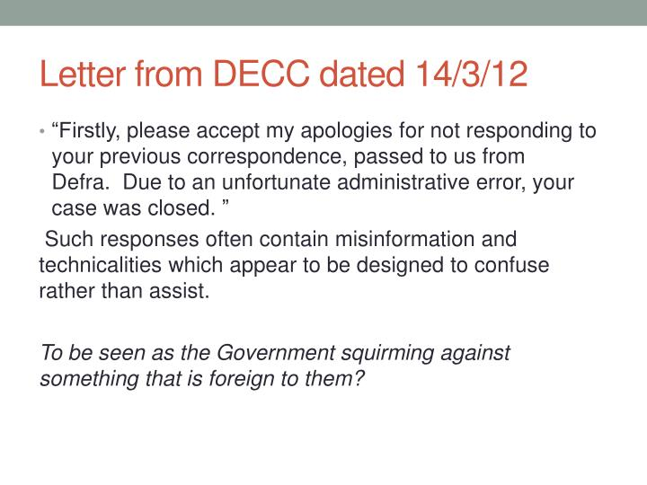 Letter from DECC dated 14/3/12