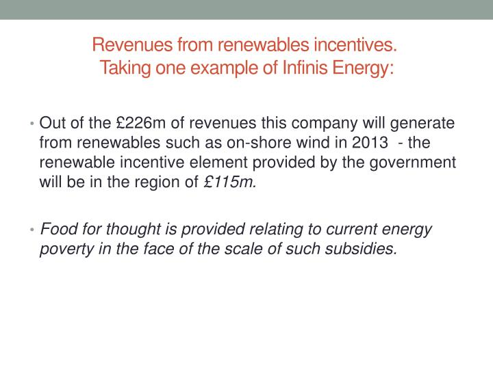 Revenues from renewables incentives.